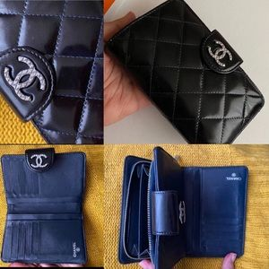 CHANEL wallet black with blue stitching